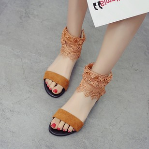 Stitching Lace Sandals Nubuck Low Heel Shoes