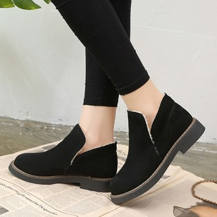 Ankle Boots Leatherette Low Heel Shoes