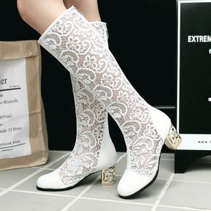 Stitching Lace Mid-Calf Boots Chunky Heel Shoes