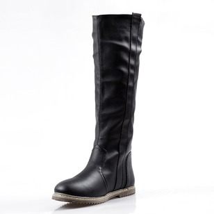 Others Knee High Boots Leatherette Flat Heel Shoes