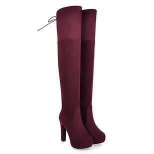 Lace-up Over The Knee Boots Nubuck Stiletto Heel Shoes