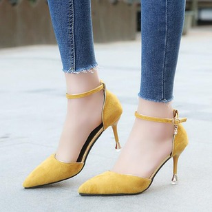 Ankle Strap Heels Flocking Stiletto Heel Shoes