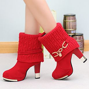 Split Joint Ankle Boots Cone Heel Shoes