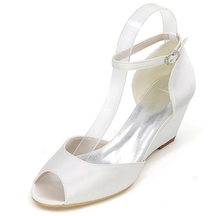 Peep Toe Heels Satin Wedge Heel Shoes