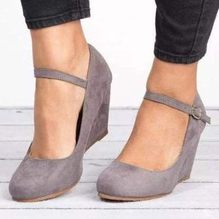 Women's Buckle Closed Toe Nubuck Wedge Heel Wedges (106153661)