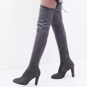 Women's Zipper Over The Knee Boots Nubuck Chunky Heel Boots (111322462)