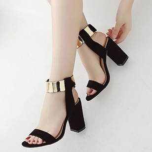 Sequin Heels PU Chunky Heel Shoes