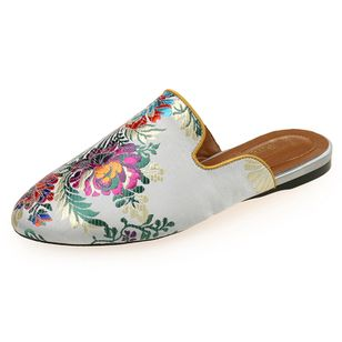 Women's Flower Flats Silk Like Satin Flat Heel Slippers (1366919)