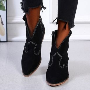 Women's Zipper Ankle Boots Cloth Low Heel Boots (100321243)