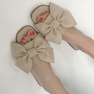 Bowknot Slippers Cloth Flat Heel Shoes