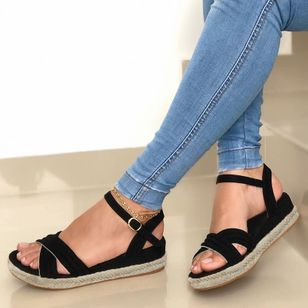 Women's Buckle Round Toe Wedge Heel Sandals (1535981)
