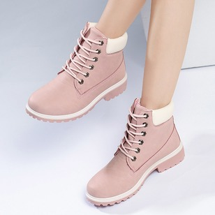 Lace-up Ankle Boots Nubuck Low Heel Shoes