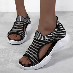 Women's Heels Fabric Low Heel Sandals (147009653)