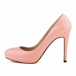 Closed Toe Heels Patent Leather Stiletto Heel Shoes