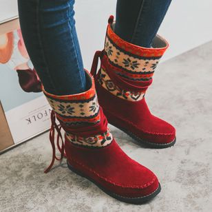 Women's Lace-up Split Joint Mid-Calf Boots Closed Toe Cloth Flat Heel Boots (120648404)