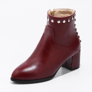 Rivet Ankle Boots Leatherette Chunky Heel Shoes