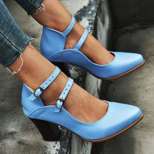 Women's Buckle Closed Toe Pointed Toe Chunky Heel Pumps (107151890)