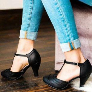 Women's Buckle T-Strap Ankle Strap Closed Toe Pointed Toe Stiletto Heel Pumps (4044798)