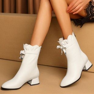 Women's Bowknot Zipper Mid-Calf Boots Closed Toe Chunky Heel Boots (107519823)