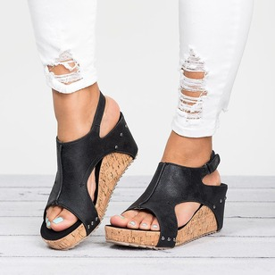 Buckle Hollow-out Split Joint Slingbacks Wedge Heel Shoes