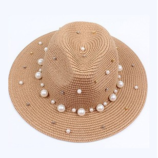Straw Beading Solid Hats