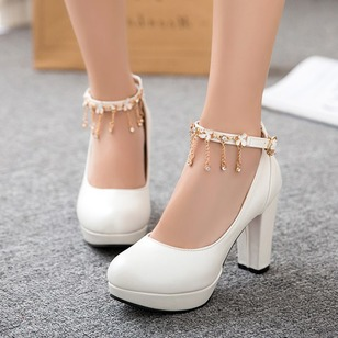 Ankle Strap Heels PU Chunky Heel Shoes