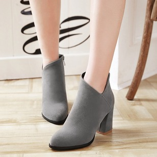Zipper Heels Ankle Boots Suede Chunky Heel Shoes