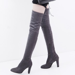 Zipper Lace-up Over The Knee Boots Nubuck Chunky Heel Shoes
