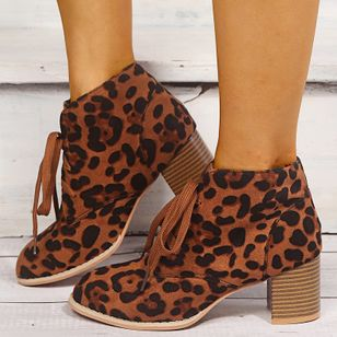 Women's Leopard Lace-up Ankle Boots Round Toe Heels Cloth Chunky Heel Boots (100447363)