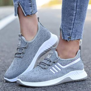 Women's Lace-up Closed Toe Fabric Flat Heel Sneakers (146683143)
