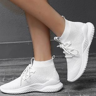 Women's Lace-up Closed Toe Fabric Wedge Heel Sneakers (106153651)