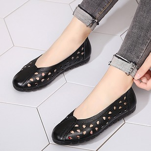 Hollow-out Closed Toe Leatherette Low Heel Shoes