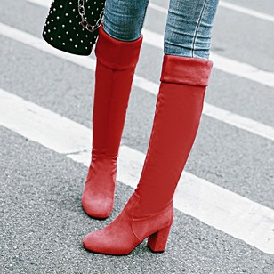 Elastic Band Knee High Boots Chunky Heel Shoes