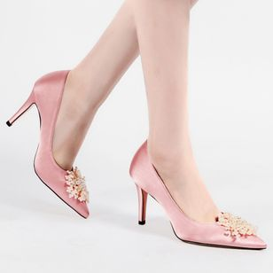 Women's Imitation Pearl Flower Pointed Toe Silk Like Satin Stiletto Heel Pumps (1505644)