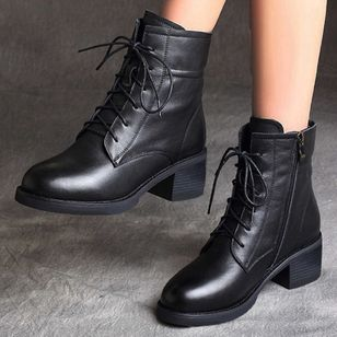Women's Zipper Lace-up Mid-Calf Boots Closed Toe Round Toe Leatherette Chunky Heel Boots (106703201)