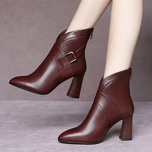 Women's Zipper Ankle Boots Closed Toe Pointed Toe Chunky Heel Boots (109973837)