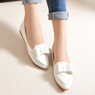 Bowknot Pointed Toe Flat Heel Shoes
