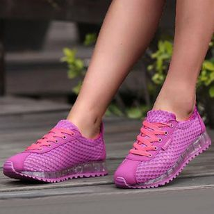 Women's Lace-up Round Toe Fabric Flat Heel Sneakers (100002052)