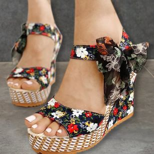 Women's Bowknot Lace-up Flower Slingbacks Cloth Wedge Heel Sandals (1536114)