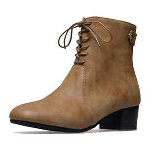 Lace-up Mid-Calf Boots PU Chunky Heel Shoes