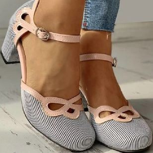 Women's Buckle Closed Toe Cloth Chunky Heel Sandals (4048515)