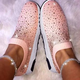 Women's Rhinestone Round Toe Cloth Flat Heel Sneakers (1516133)