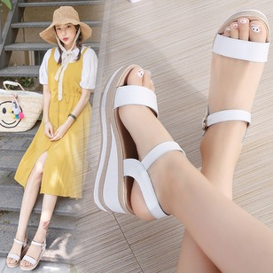 Buckle Ankle Strap Slingbacks Real Leather Wedge Heel Shoes