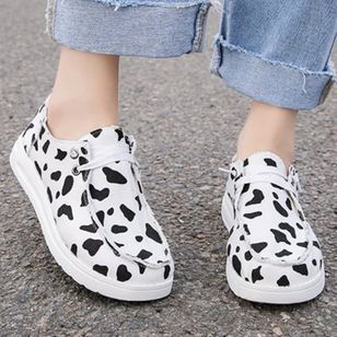 Women's Lace-up Closed Toe Canvas Wedge Heel Sneakers (4074156)