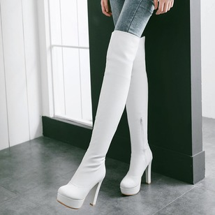Zipper Over The Knee Boots PU Stiletto Heel Shoes