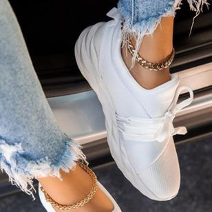 Women's Lace-up Closed Toe Lace Wedge Heel Sneakers (104146877)