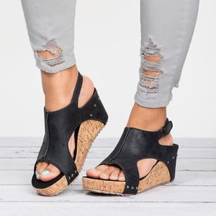 Women's Buckle Hollow-out Split Joint Slingbacks Wedge Heel Wedges (1199753)