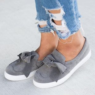 Women's Bowknot Closed Toe Cloth Flat Heel Sneakers (4134835)