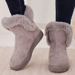 Women's Buckle Fur Ankle Boots Flat Heel Boots (146661934)