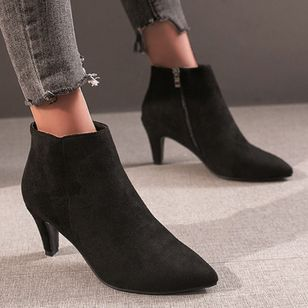 Women's Zipper Ankle Boots Closed Toe Pointed Toe Nubuck Stiletto Heel Boots (107151849)